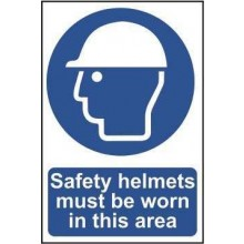 Safety Helmets Must be Worn Sign PVC Self Adhesive 200x300mm