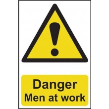 Danger Men at Work Sign  PVC Self Adhesive 200x300mm