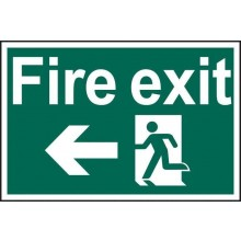 Fire Exit Running Man Left Sign PVC Self Adhesive 300x200mm