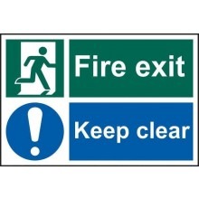 Fire Exit Keep Clear Sign PVC Self Adhesive 300x200mm