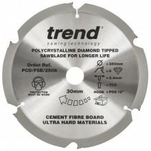 Trend Fibreboard sawblade PCD 250mm x 6T x 30mm