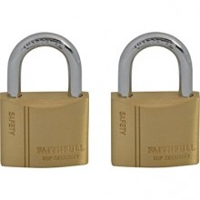 Faithfull Brass Padlock Keyed Alike Twin Pack