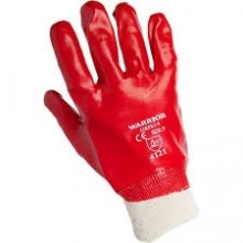 Red PVC Coated Dipped Knitted Wrist Glove One Size